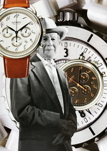 """""""Slow Down"""" collage with man and clocks"""