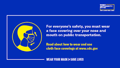 Face coverings public transport CDC poster
