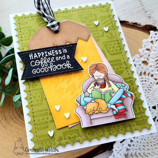 Happiness is Coffee and a Good Book Card by Amanda Wilcox | Sips & Stories Stamp Set, Mugs Stencil, Houndstooth Stencil, Framework Die Set and Fancy Edges Tag Die Set by Newton's Nook Designs #newtonsnook