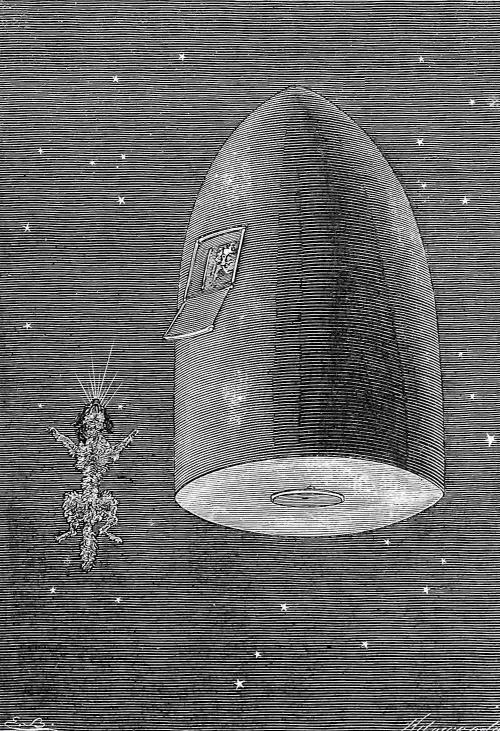 1872 Jules Verne, the moon