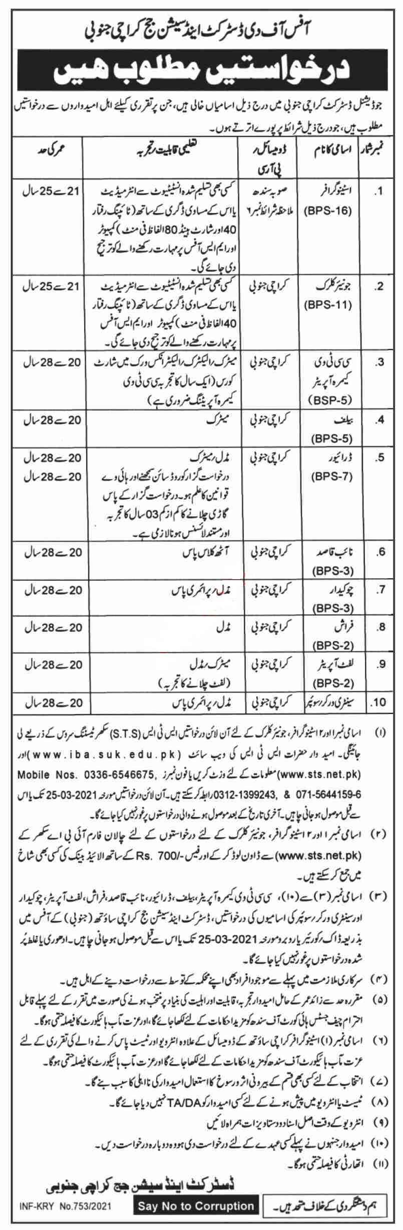 District & Session Court Karachi Jobs 2021 for Clerk, Stenographer, Junior Clerk, CCTV Camera Operator, Bailiff and more