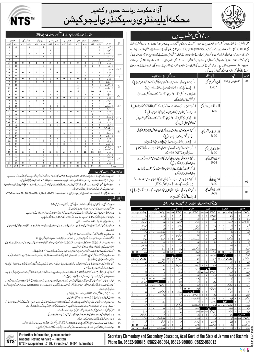 Elementary & Secondary Education Department Teaching Jobs in Pakistan 2020 - 2021 - Online Apply - www.nts.org.pk