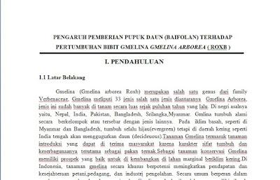 Contoh Proposal Penelitian Pengaruh Pemberian Pupuk Daun (Baifolan) Terhadap Pertumbuhan Bibit Gmelina