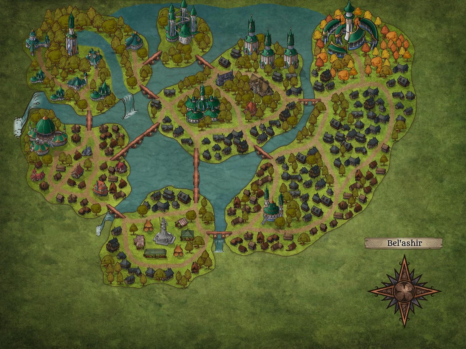 La ciudad elfa de Bel'ashir - Plano