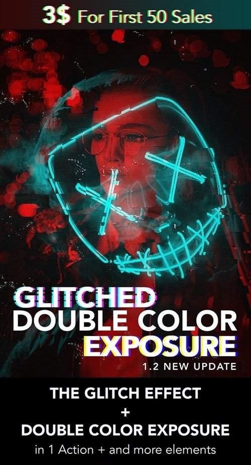 Glitched Double Color Exposure[PS][Action][25600184]