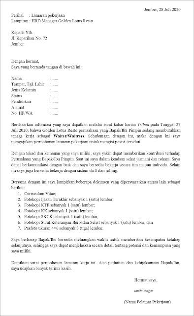 contoh application letter waiter/waitress (fresh graduate) Berdasarkan Informasi Dari Media Cetak