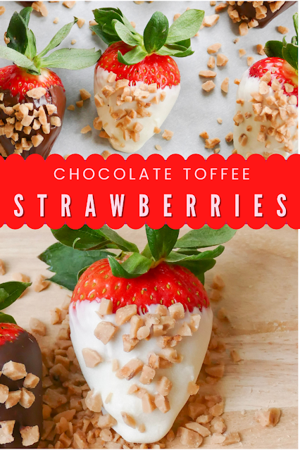 Chocolate and English Toffee Covered Strawberries image for pinterest