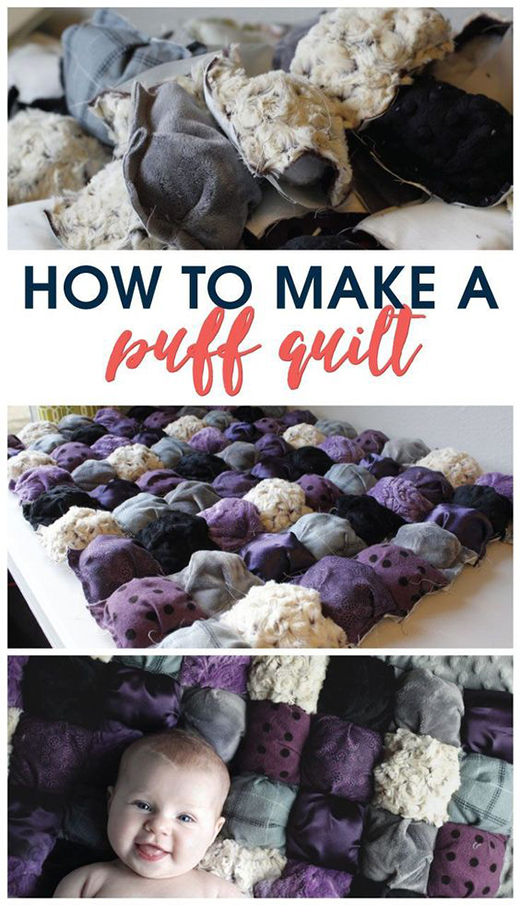 How to Sew an Easy Puff Baby Quilt by Amanda of A Crafted Passion