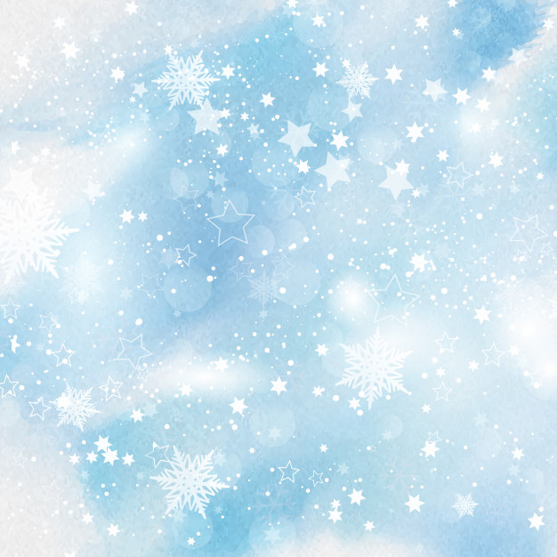 Snowflakes and stars on watercolour background Free Vector