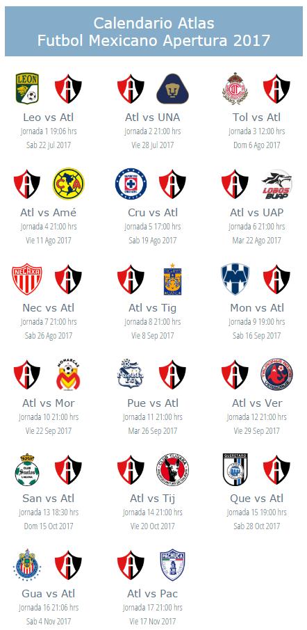 1e7ec4d197b1e Calendario del Atlas para el torneo apertura 2017 del futbol mexicano