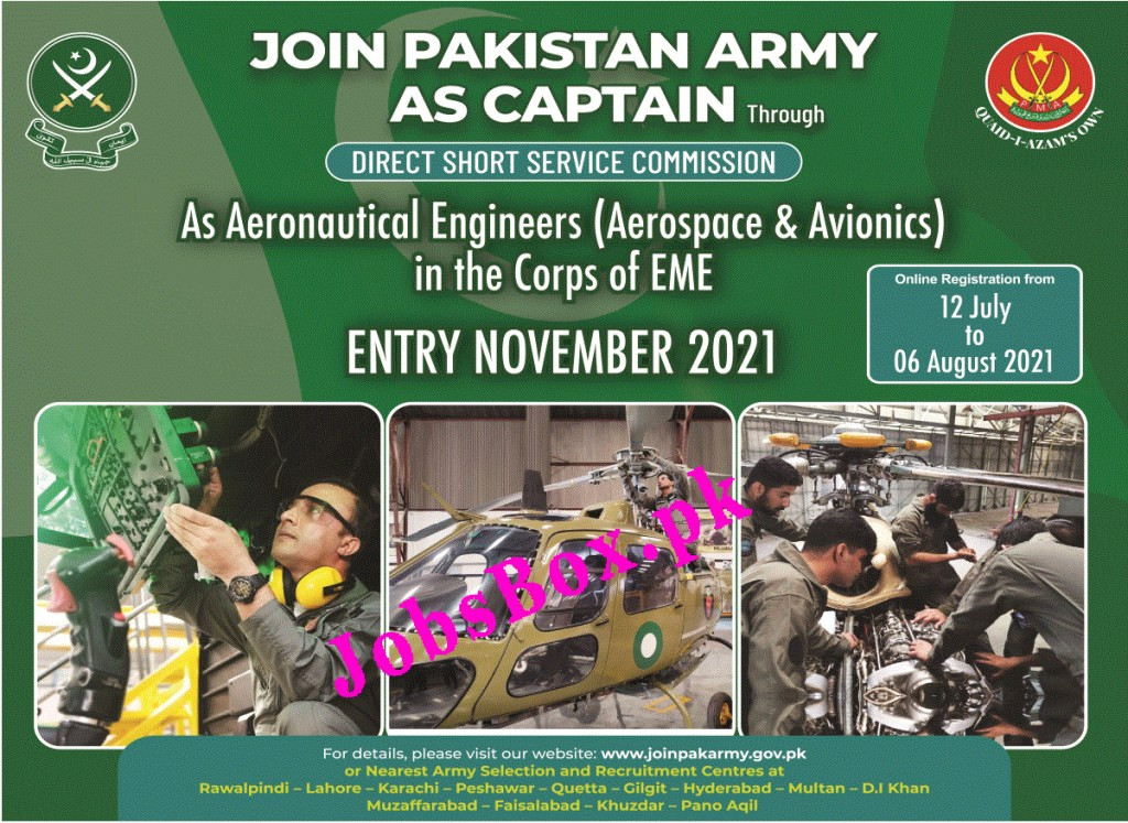 Join Pakistan Army as Captain – Pak Army Jobs 2021