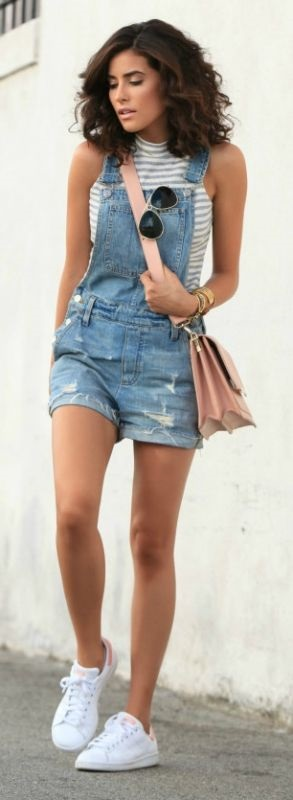 summer striped top + denim overalls
