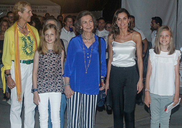 King Felipe VI, Queen Letizia, Princess Leonore, Infanta Sofía, Queen Sofia and Infanta Elena of Spain