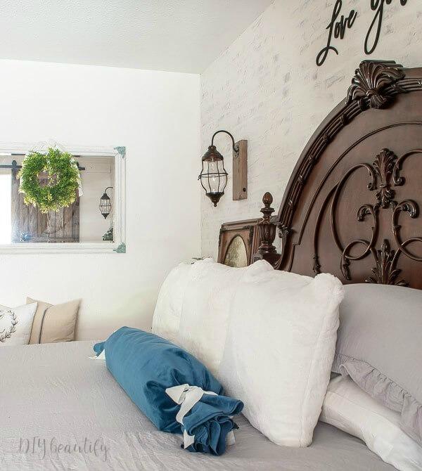farmhouse master bedroom with European style