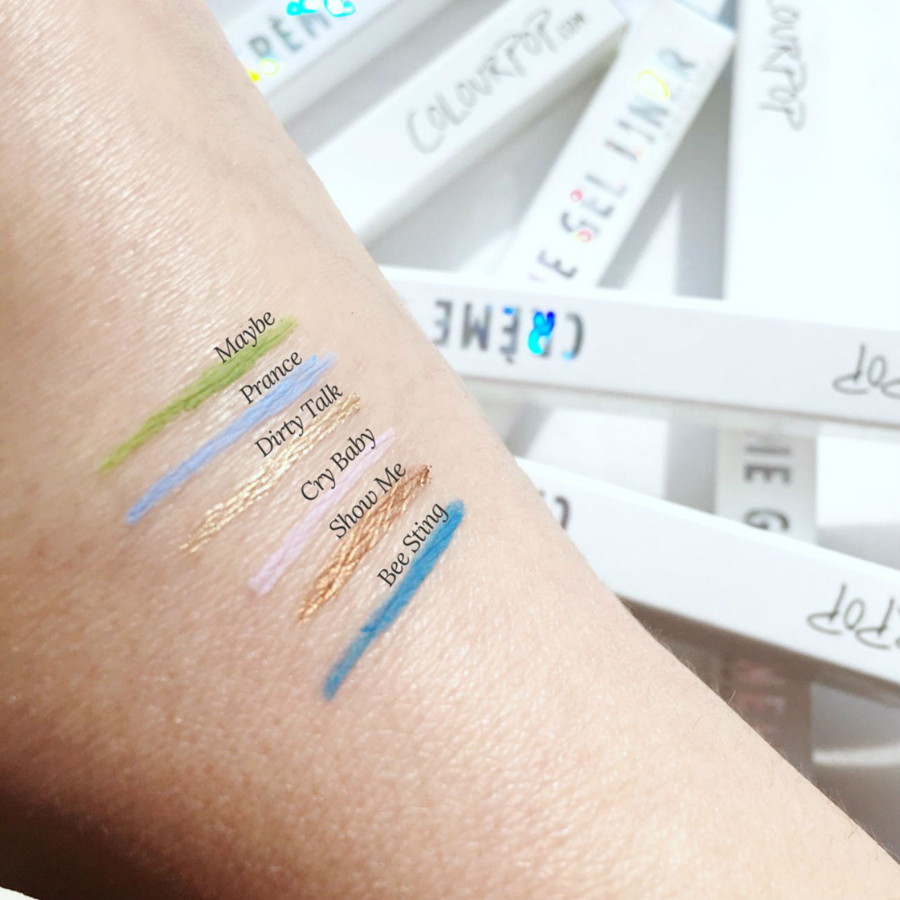 Review of Colourpop Creme Gel Liners, swatches