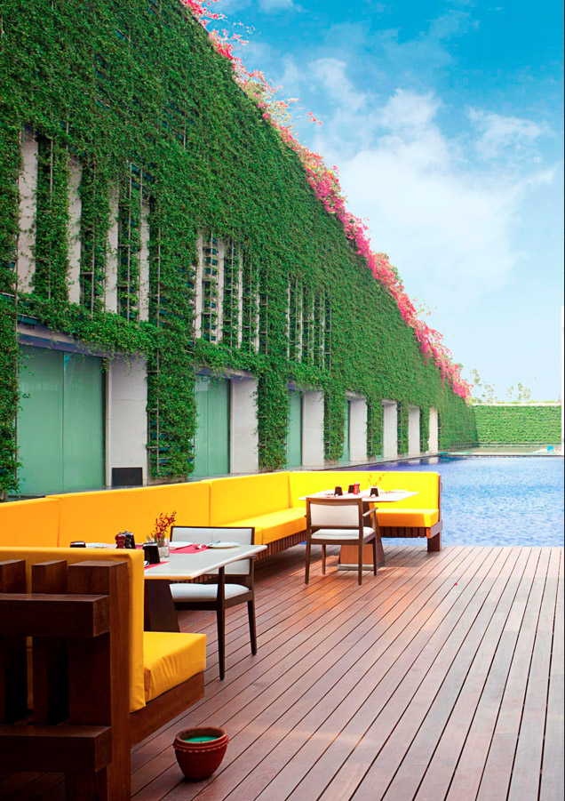 New Modern Luxury Hotel In India Boasts An Enormous Pool And A Living Wall The Oberoi Gurgaon