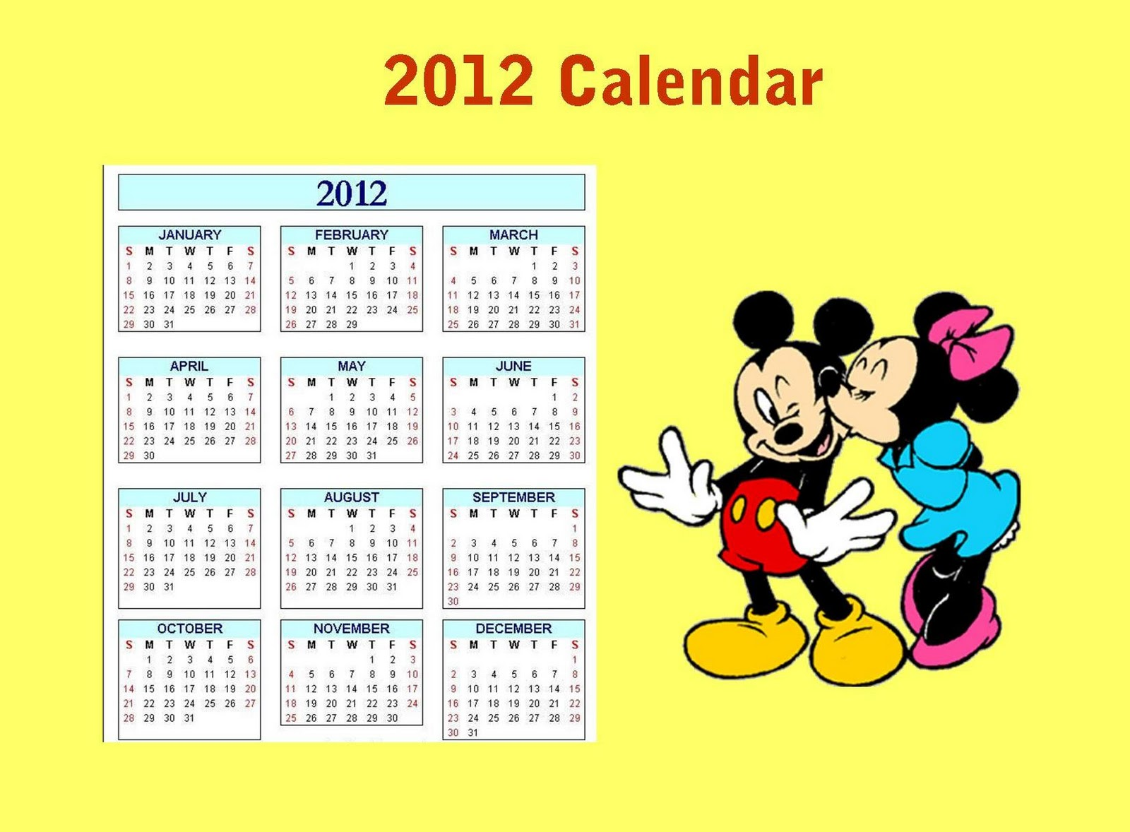 2012 Printable Disney Calendar For Kids How To Make Your Own
