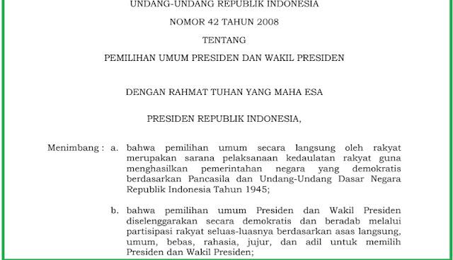 Undang-Undang Republik Indonesia Tentang Pilpres