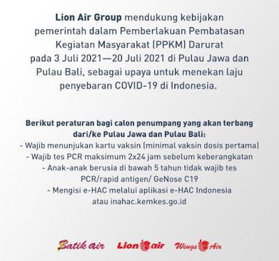 Syarat Penerbangan Terbaru Lion Air Group 3 s/d 20 JULI 2021