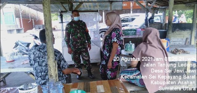 Sampaikan Pentingnya Pakai Masker Dengan Cara Komsos Dilakukan Personel Jajaran Kodim 0208/Asahan
