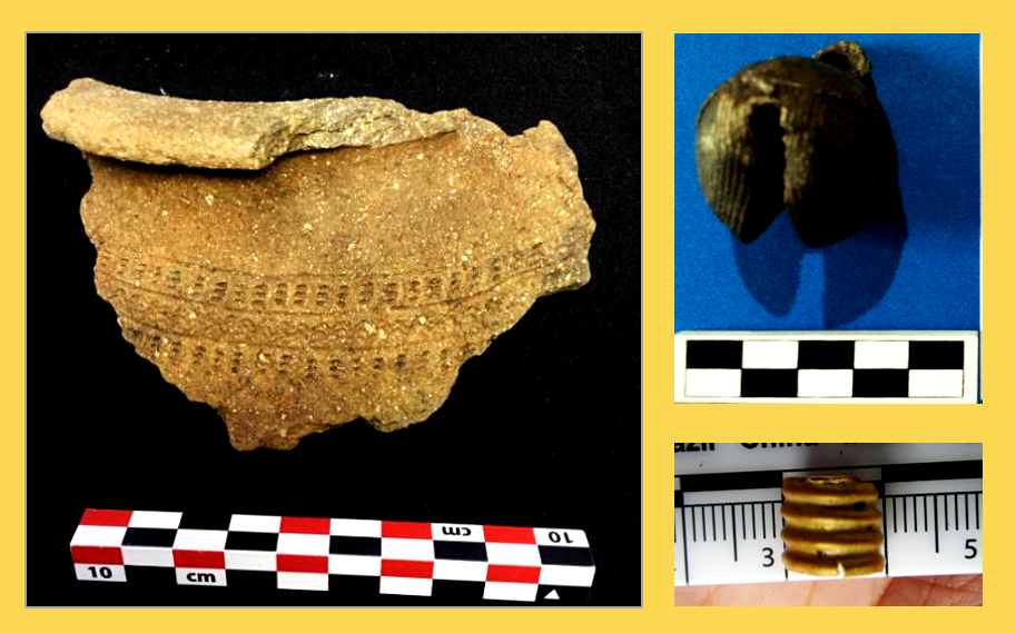 earthenware sherd with incised and impressed designs