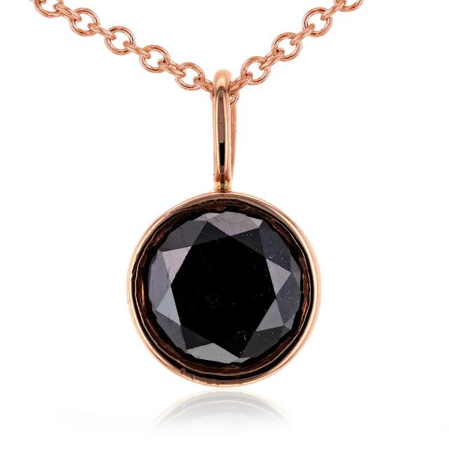 "Black Diamond Solitaire Bezel Pendant and Detachable Chain 1 CTW in 14K Rose Gold (16"" Chain)"