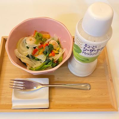 温野菜サラダ,業務スーパー,サラダえび,パプリカ,菜の花,オニオンサラダ,シーザーサラダドレッシング