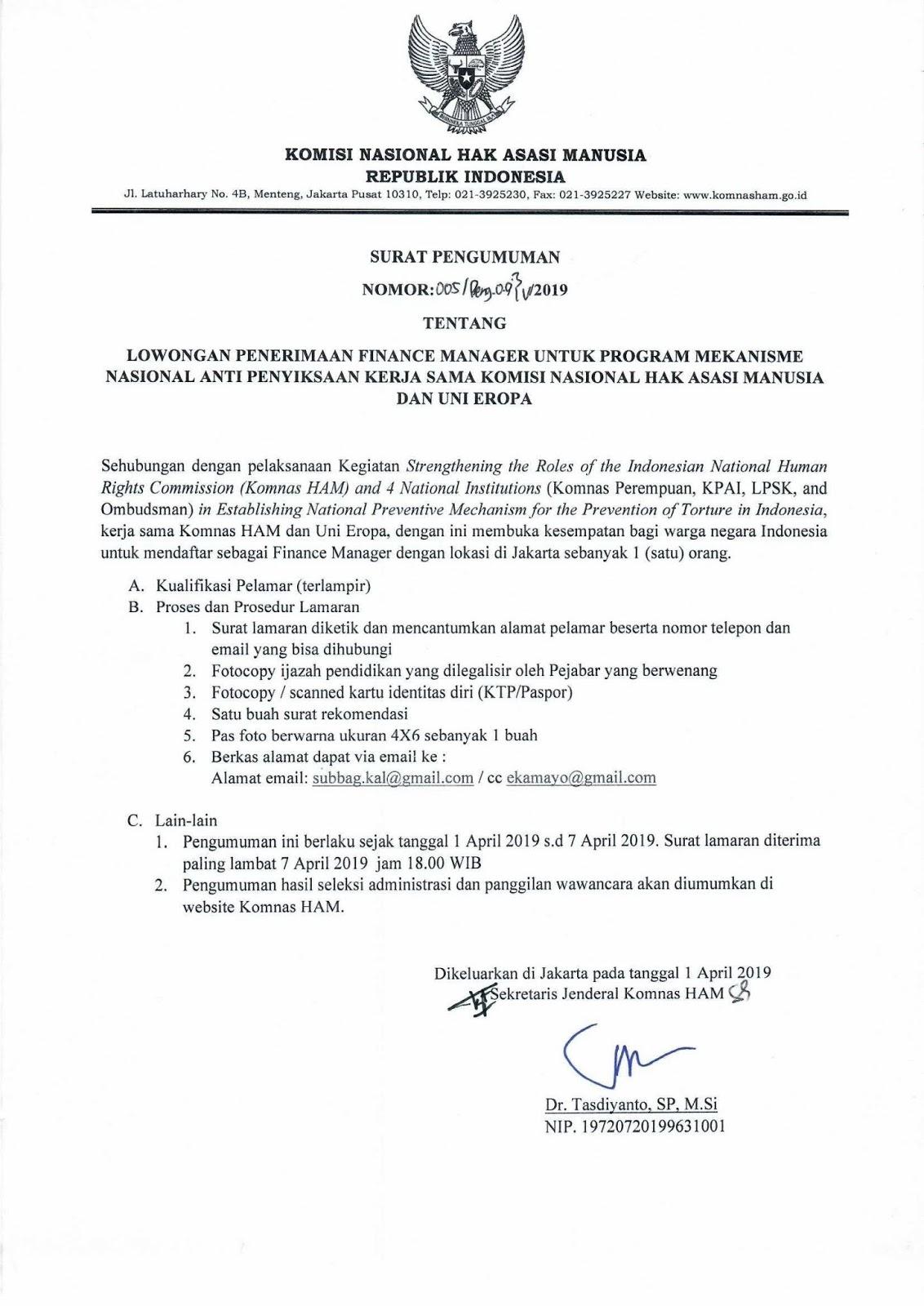 Lowongan Kerja Finance Manager Komnas HAM