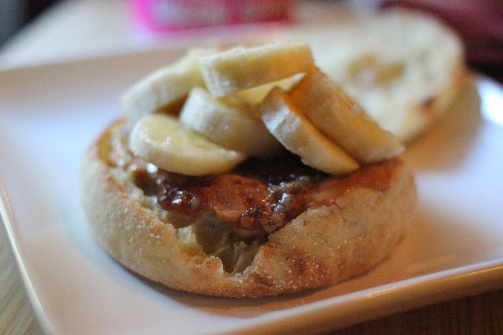 The Elvis Breakfast Sandwich with bacon jam.  It consists of peanut butter, spreadable bacon, and bananas on an English muffin.    Bacon Jams review.