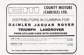 County Motors (Carlisle) Ltd 1978 advert