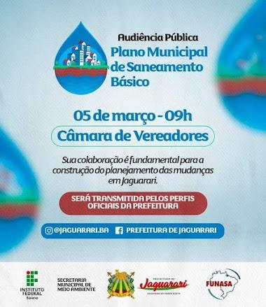 Plano Municipal de Saneamento Básico de Jaguarari será apresentado à população em Audiência Pública virtual nesta sexta-feira, dia 5