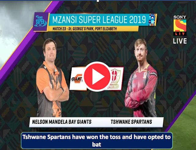 Watch Live: Nelson Mandela Bay Giants vs Tshwane Spartans, 23rd Match