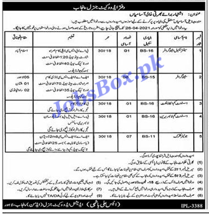 Latest Office of Advocate General Punjab Jobs 2021
