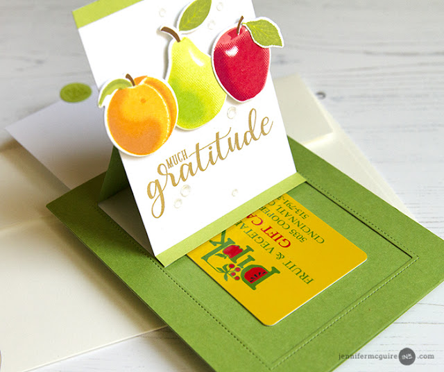 Sunny Studio Stamps: Fruit Cocktail Apple, Pear & Peach Sliding Window Pop-up Card by Jennifer McGuire