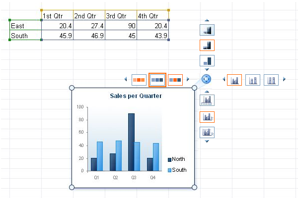Interactive prototype of excel charts
