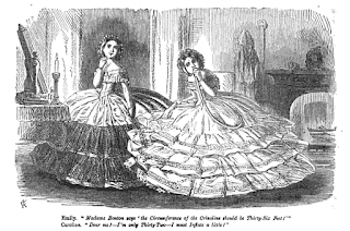 Inflatable crinoline satire, Punch, Jan 17, 1857