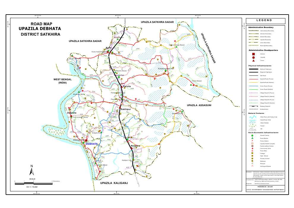 Debhata Upazila Road Map Satkhira District Bangladesh