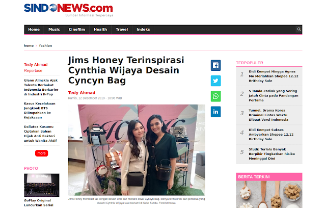 Desain Cyncyn Bag dari Jims Honey terinspirasi dari Cynthia Wijaya