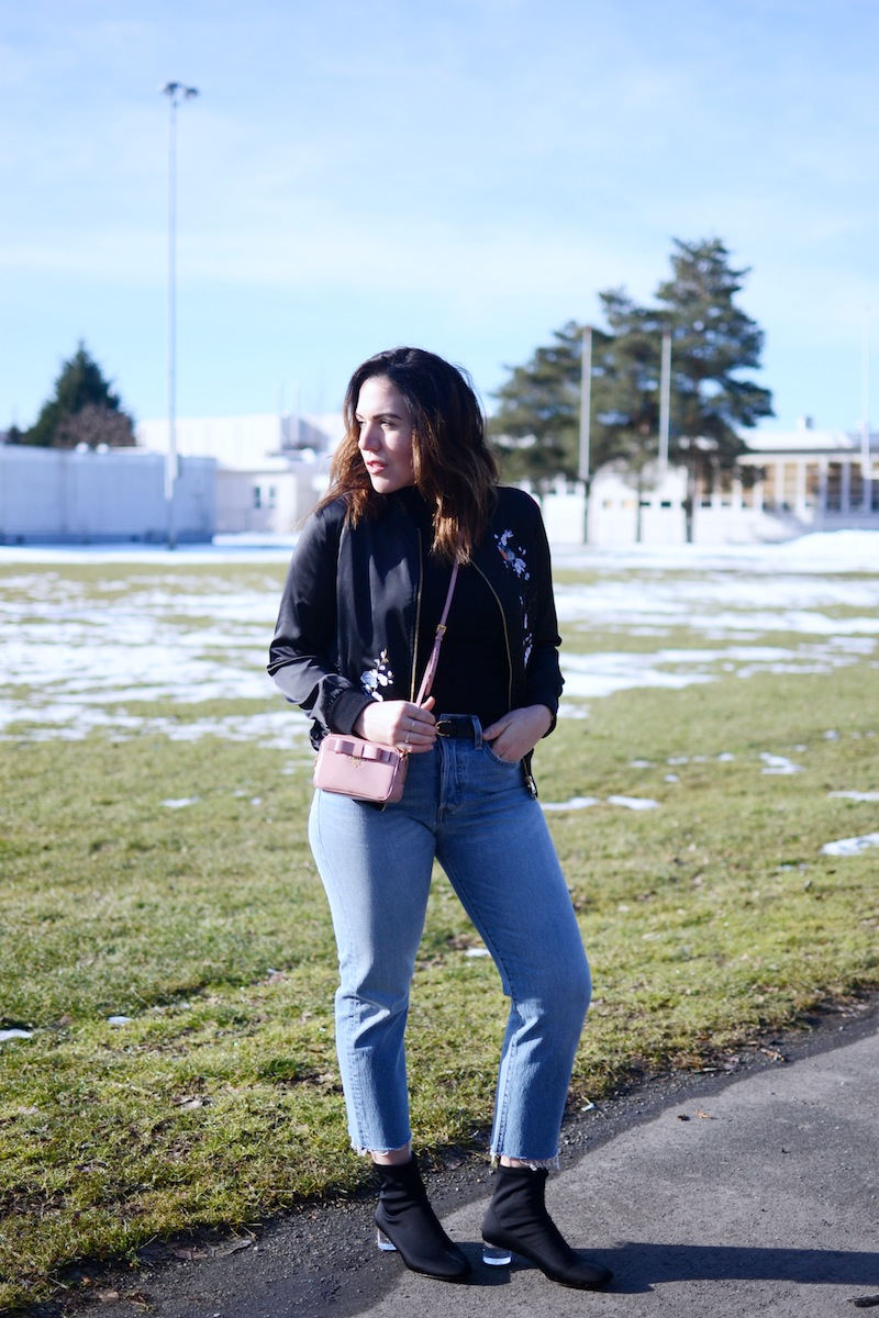 Le Chateau embroidered satin bomber jacket Levi's straight leg wedgie jeans zara sock boots mini Prada camera bag 70s inspired outfit vancouver fashion blogger