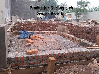 proses pembangunan gedung 2 lantai di Bekasi