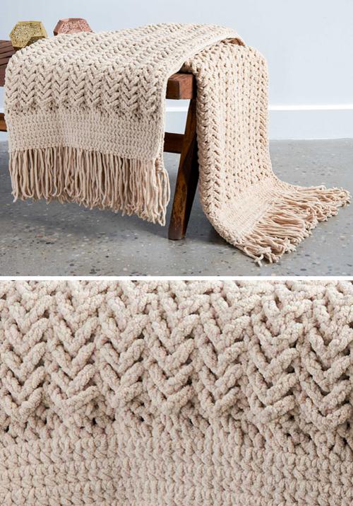 Herringbone Crochet Blanket - Free Pattern