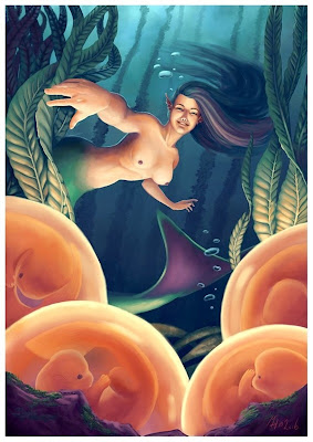 mermaid mother waiting for the hatching