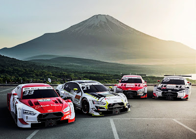 Cuatro Audi del DTM medirán sus cualidades en el Circuito de Fuji.