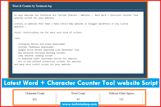 Word and Character Counter Tool website script blogger