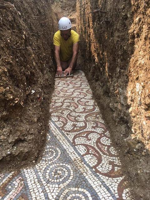 Roman floor mosaics brought to light at Negrar di Valpolicella, Verona