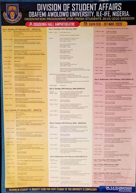OAU Orientation Programme Schedule for Fresh Students 2019/2020