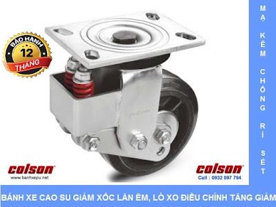 Bánh xe phi 200 lò xo giảm xóc Colson chịu tải 400kg | SB-8509-648 www.banhxedayhang.net
