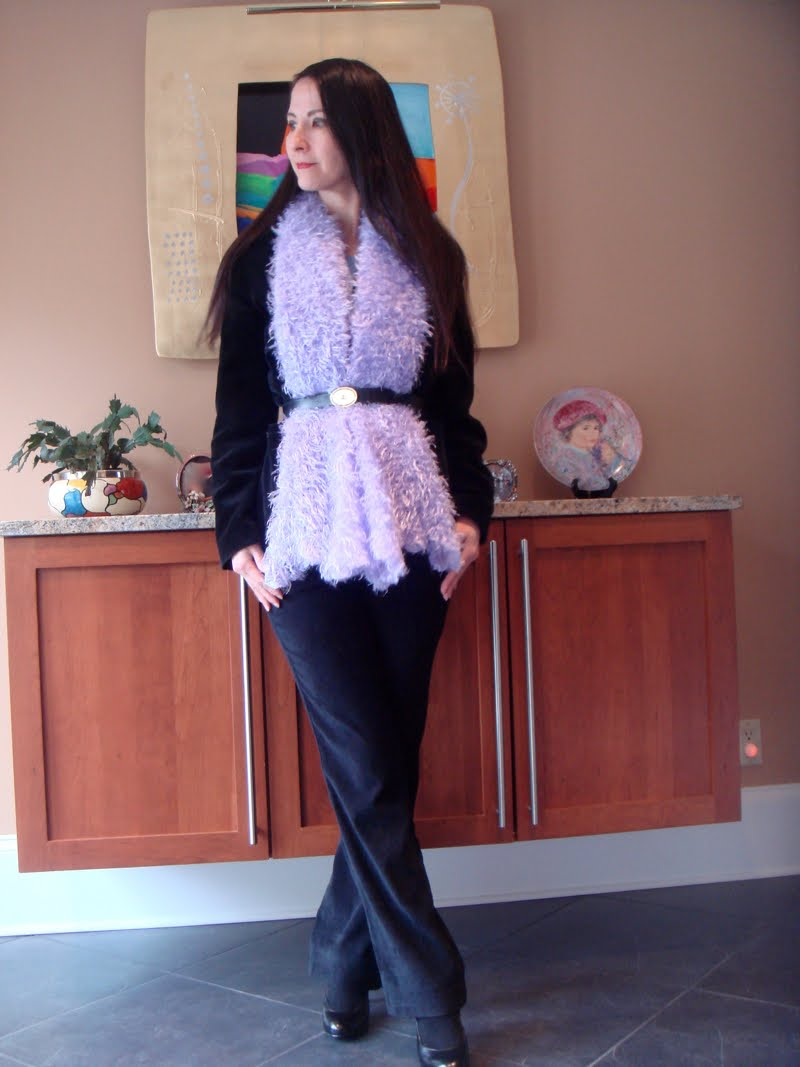 Black Velvet & Purple Fuzz outfit head to the side