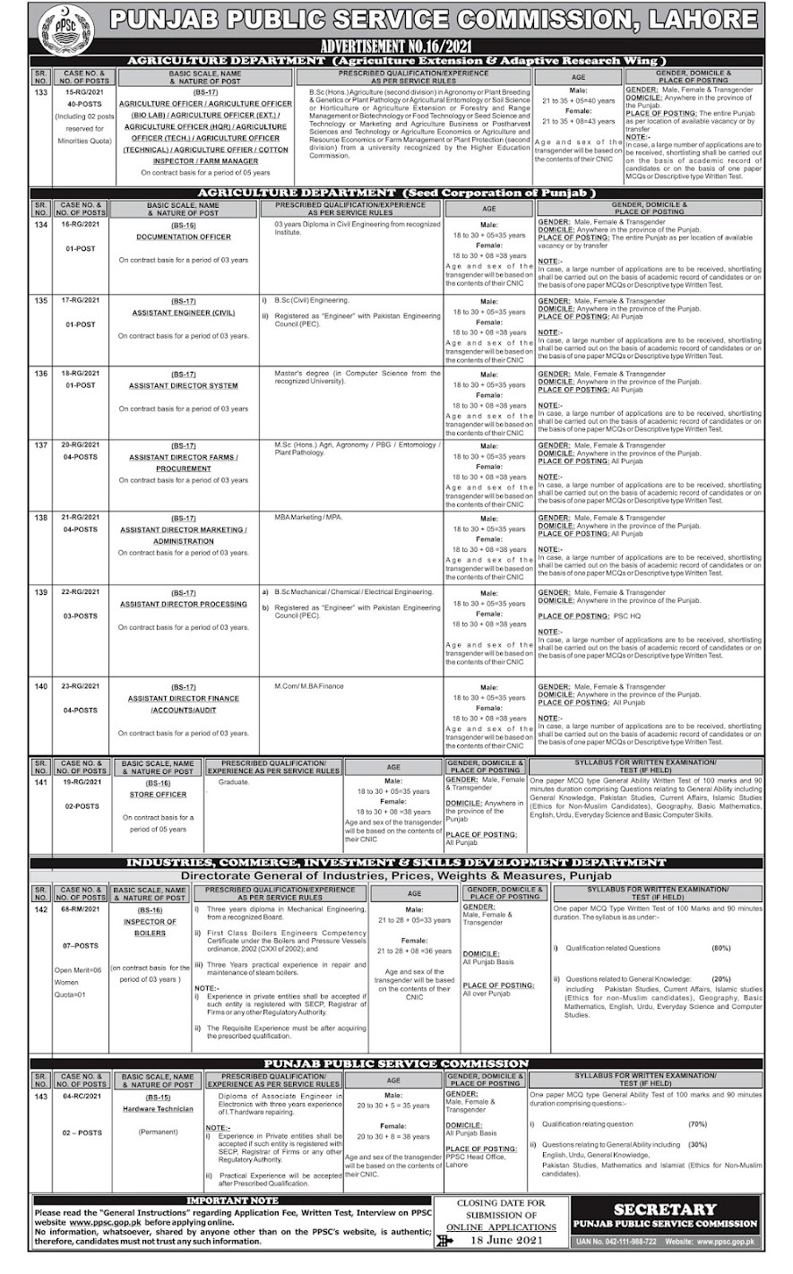 Latest Jobs in Punjab Public Service Commission PPSC  2021 - Apply online Ad No 16
