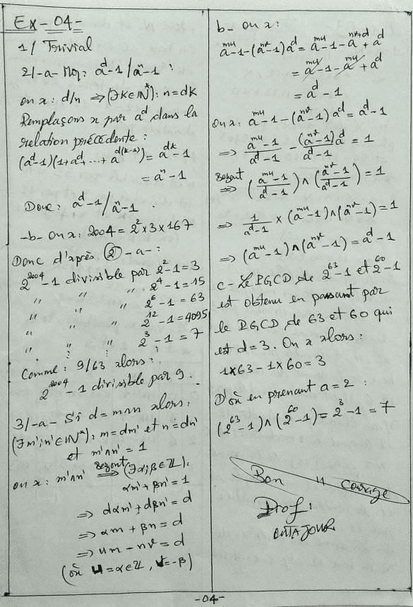 Arithmétiques 2bac sm